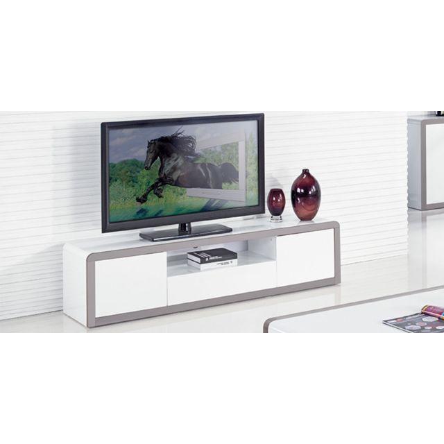 La Maison Du CanapÉ Meuble Tv laqué Juliana - Blanc / Gris