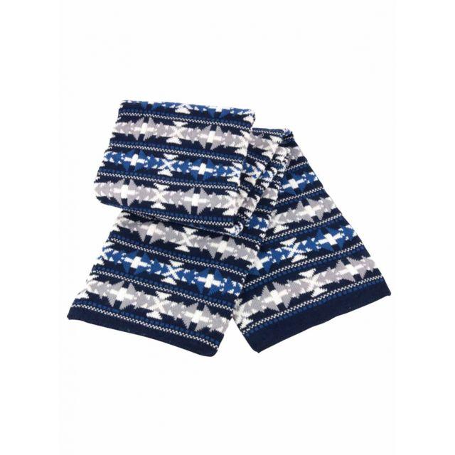 bb0d3a344fed Result - Echarpe tricot jacquard - R350X bleu gris et blanc - mixte homme  femme