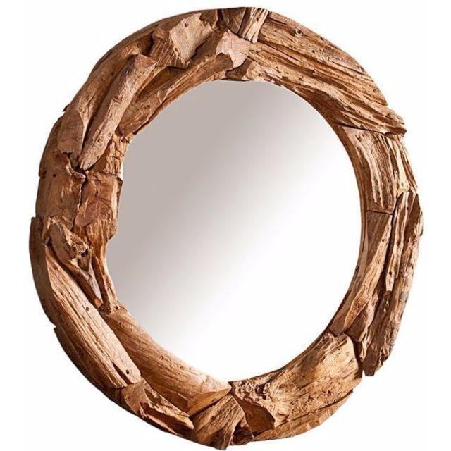 Comforium Miroir décoratif 50 cm en bois flotté et verre coloris naturel