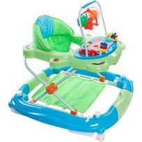 Trotteur balancelle interactive jouets sons lumières bébé 6-12 mois Petit Chat   Vert et Bleu