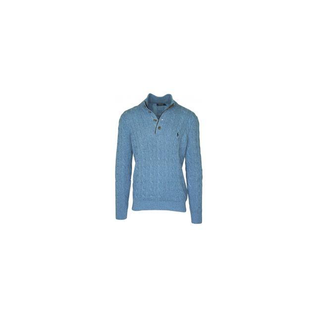 Ralph Lauren - pull bleu ciel col camionneur - pas cher Achat   Vente Pull  homme - RueDuCommerce f24d84e3321