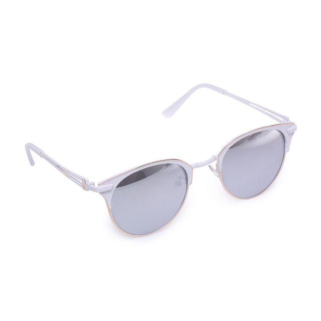 Lamodeuse - Lunettes de soleil blanches style rétro effet miroir ... e93e3b1ffb5c