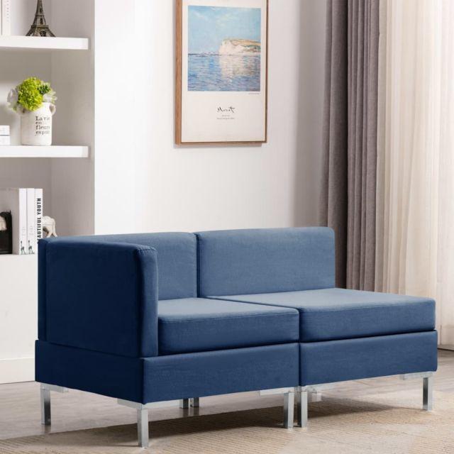 Vidaxl Ensemble de canapé 2 pcs Tissu Bleu