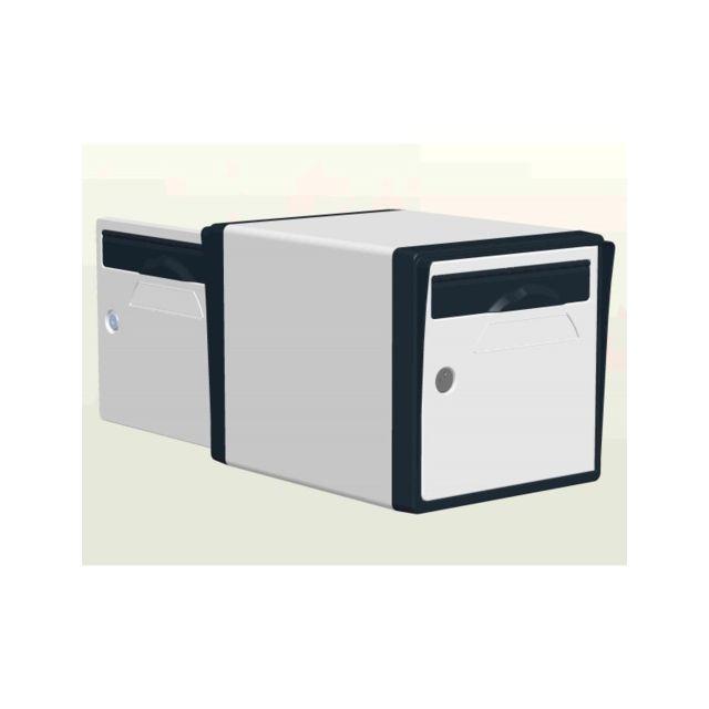 creastuce boite aux lettres 2 portes blanc gris. Black Bedroom Furniture Sets. Home Design Ideas