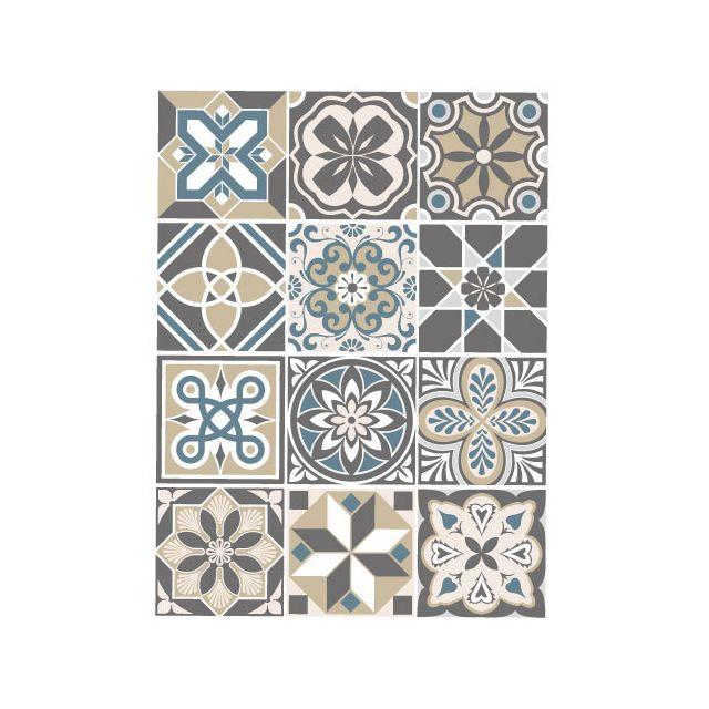 Sticker Carrelage - Carreaux de Ciment - Mozicbeige - 12 pièces 20 x 20 cm