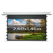 Kimex - Ecran de projection électrique encastrable tensionné 2,60 x 1,46m, format 16:9