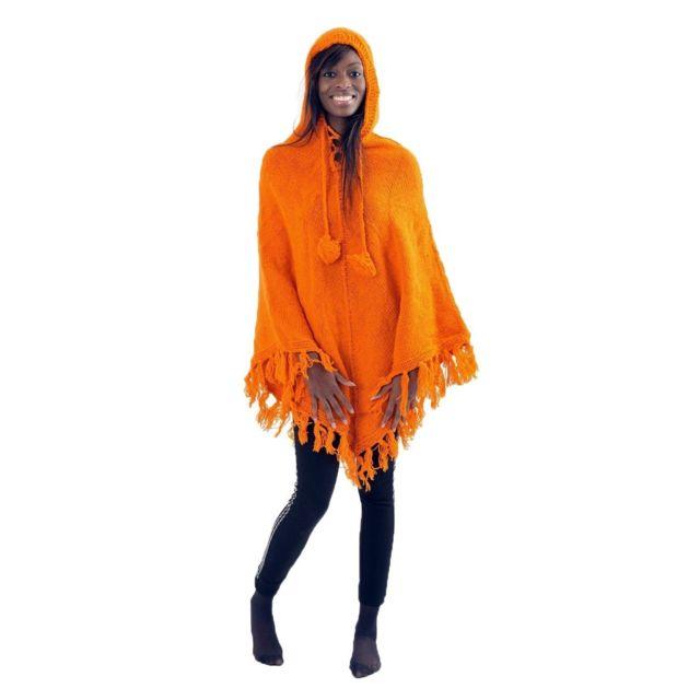 Pancho pure laine douce du Nepal orange