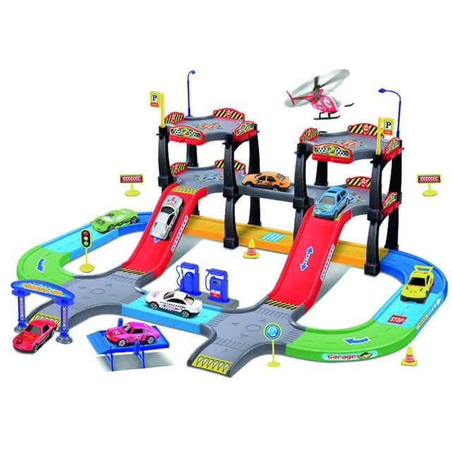 Imagin Circuit ville avec 2 Voitures et 1 Hélicoptère - Multicolore