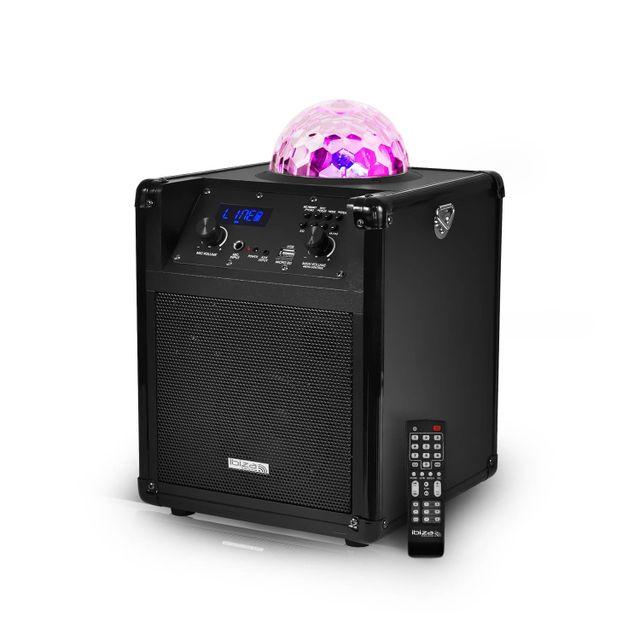 Ibiza Sound Enceinte portable autonome avec effet de lumière Astro à Leds Rvb - Kube60-BK