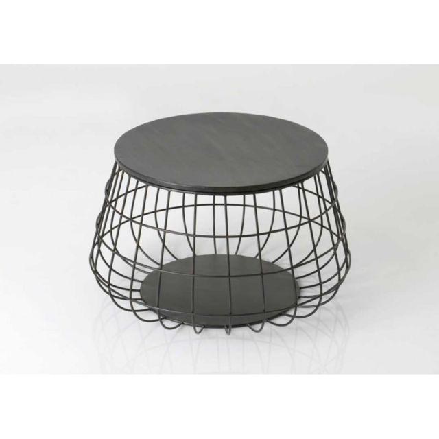 Amadeus Table basse ronde métal noir grillagée