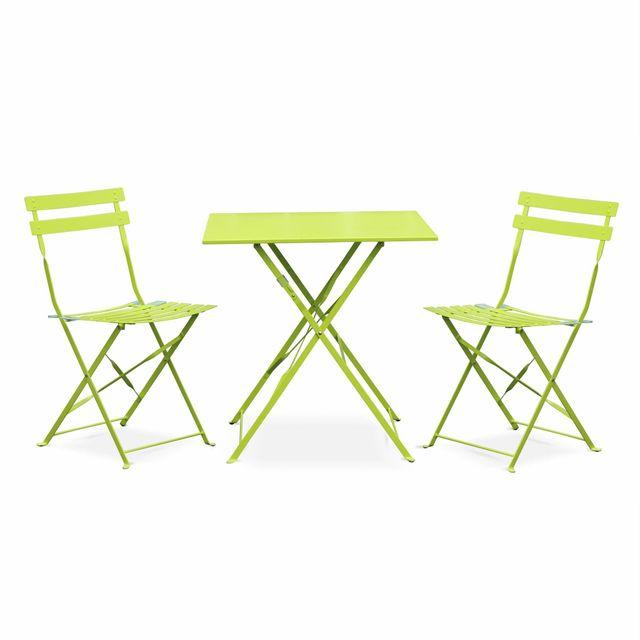 ALICE\'S GARDEN - Salon de jardin bistrot pliable - Emilia carré vert ...