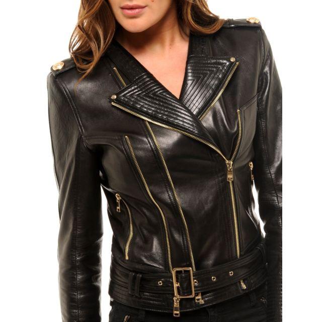 Blouson cuir perfecto noir femme