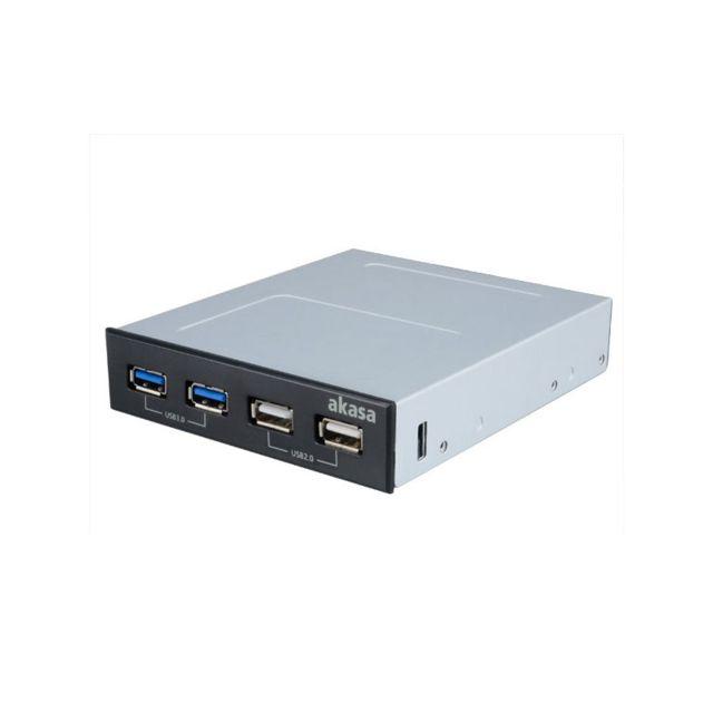 AKASA - Hub USB en façade 3,5'' 2x USB 3.0/2x USB 2.0