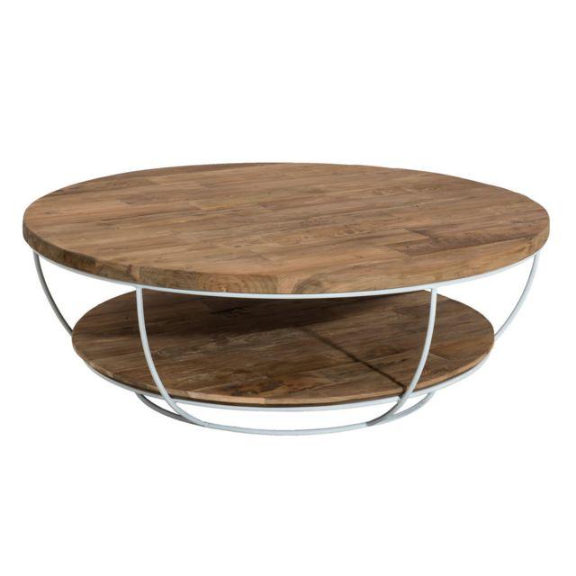 MACABANE Table basse coque blanche double plateau 100 x 100 cm