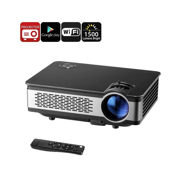 Auto-hightech Projecteur video Android Hd - 1500 Lumen, 1280x768p, 1 Go de Ram, 1080p, Led 120W, WiFi, haut-parleur intégré, Google Pl