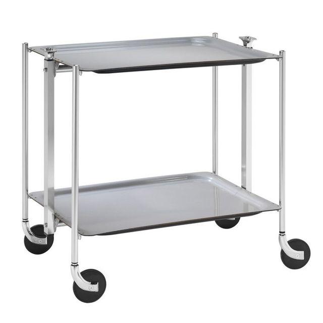 Table Roulante Pliable Grise Avec 2 Plateaux
