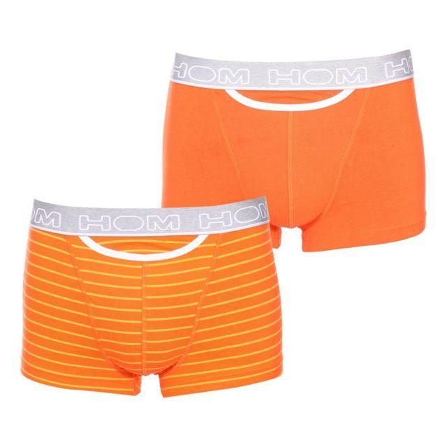 Hom - Lot de 2 boxers Ho1 Pop en coton stretch orange et orange à rayures  orange foncé - pas cher Achat   Vente Boxers, shorties - RueDuCommerce c183c51e1b7