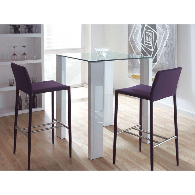 Marque Generique Table de bar carrée en bois et verre trempé Hauteur 103cm - Blanc