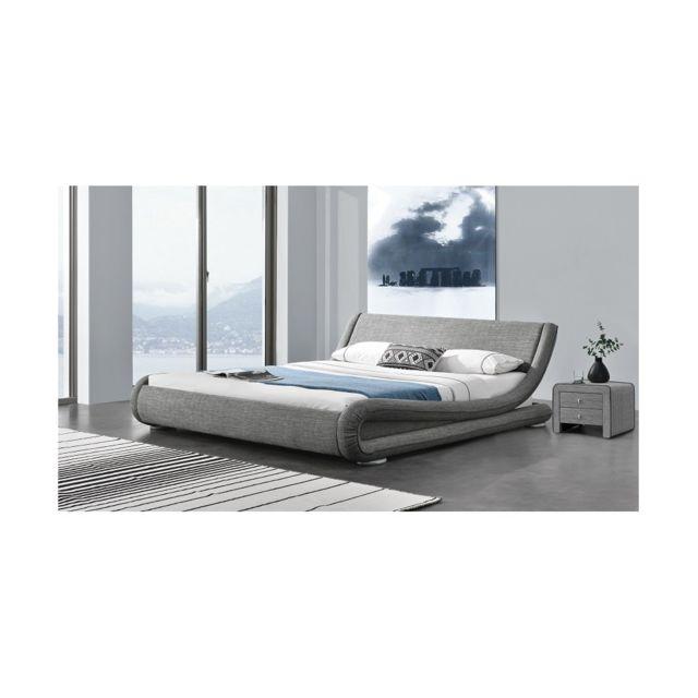 fournier decoration love lit lin gris 180x200 cm pas cher achat vente structures de lit. Black Bedroom Furniture Sets. Home Design Ideas