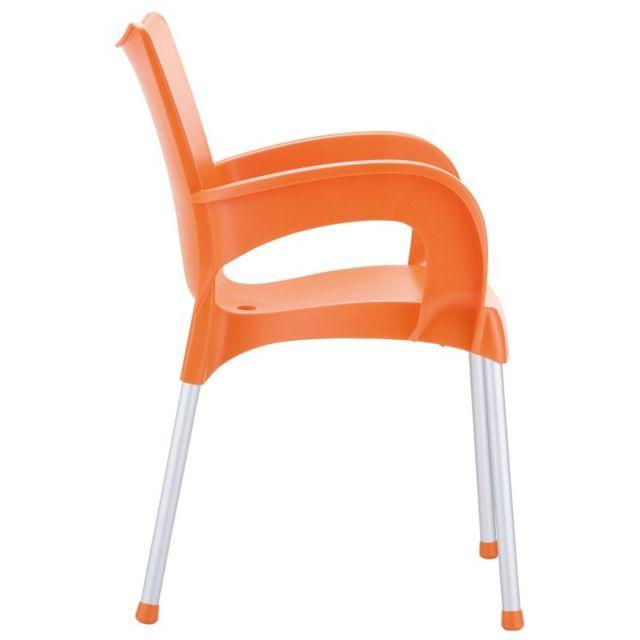 DECOSHOP26 Chaise de jardin ou cuisine en plastique orange