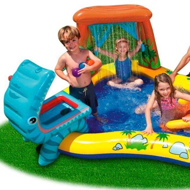 Icaverne Piscine De Jeux - Piscine Gonflable - Pataugeoire Piscine gonflable Enfant / Aire De Jeux aquatique Dinosaure 249 x 191