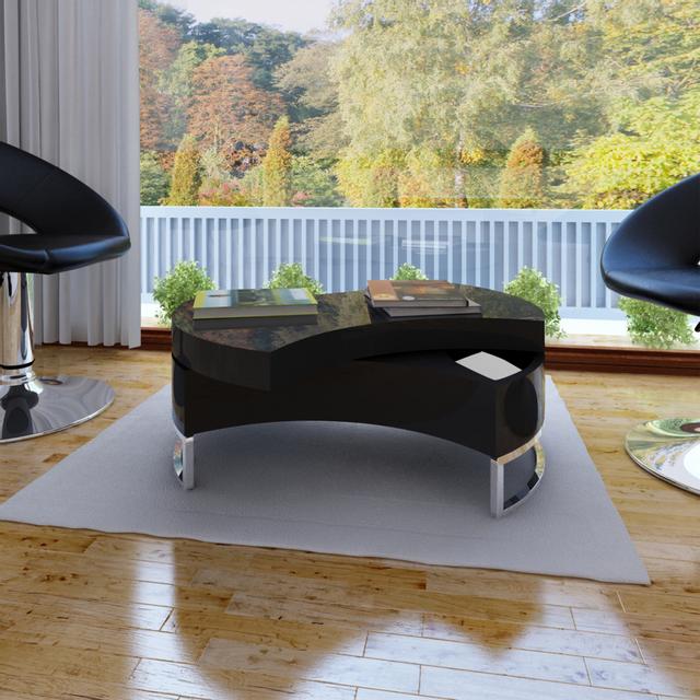 Vidaxl Table basse pivotante en Mdf noire brillante laquée