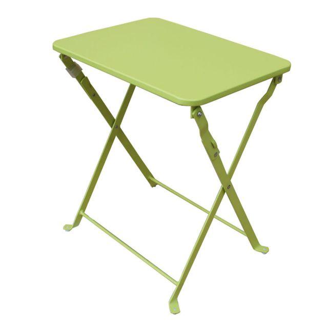 Pegane - Table d\'appoint de jardin pliante coloris vert anis - Dim ...