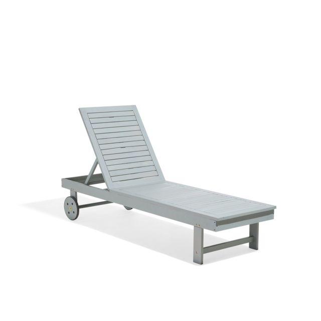 BELIANI Chaise longue grise en bois d'acacia MATERA - gris