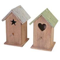 Mendler - 2x maison de décoration Kamnik, mangeoir en bois pour oiseaux, style shabby, vintage 23x14x12cm