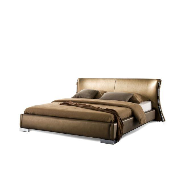 BELIANI Lit design en cuir double 160x200 cm or PARIS - or