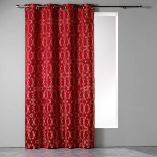 douceur dint/érieur rideau a oeillets 140x260 cm polyester filiane rouge