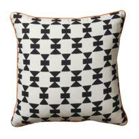 Pomax - Coussin 100 % coton motifs liseret contrasté coloris blanc/noir 45x45cm Touareg