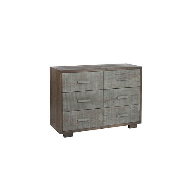 Commode 6 tiroirs 105x38x77cm en bois naturel et gris