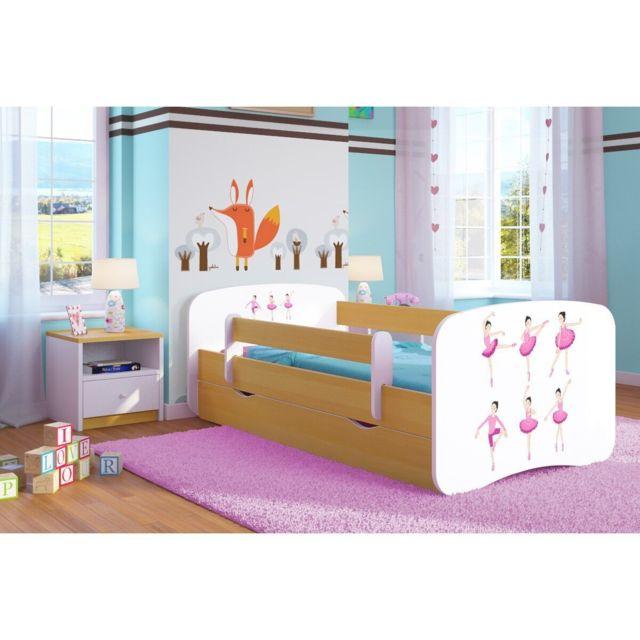 carellia lit enfant ballerina 80 cm x 160 cm avec barriere de securite sommier tiroirs. Black Bedroom Furniture Sets. Home Design Ideas