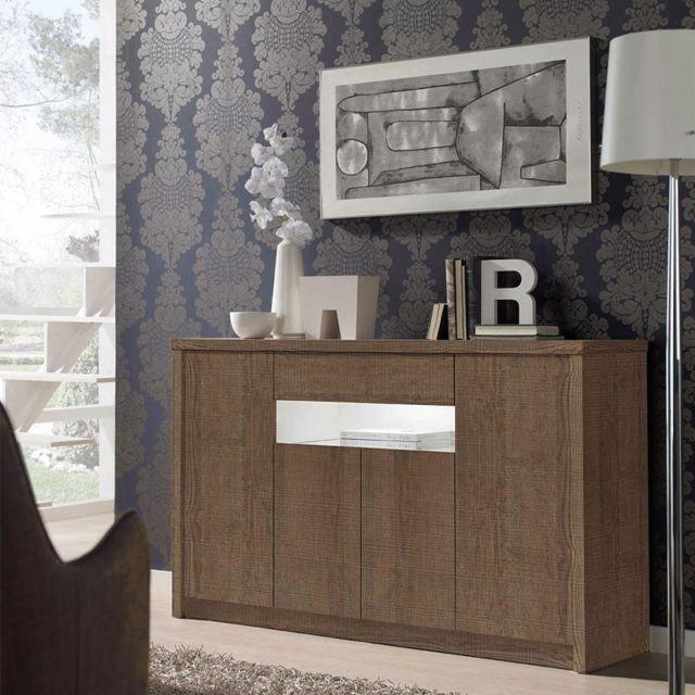 Tousmesmeubles Buffet 4 portes 1 tiroir Chêne foncé 150 cm - Botekia