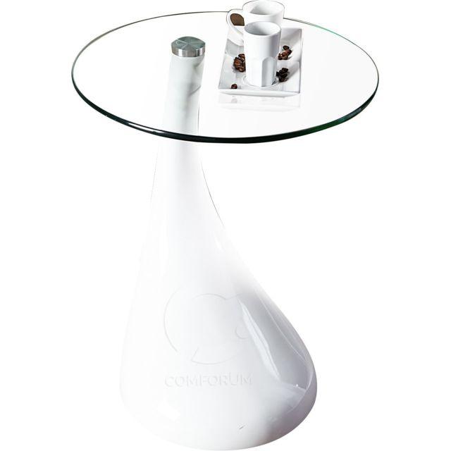 Comforium Table d'appoint design en fibre de verre coloris blanc laqué + plateau en verre inclus