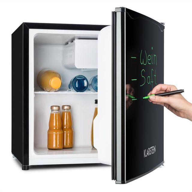 KLARSTEIN Réfrigérateur 40L A+ 2 étagères bac à glace congélateur marqueur - noir