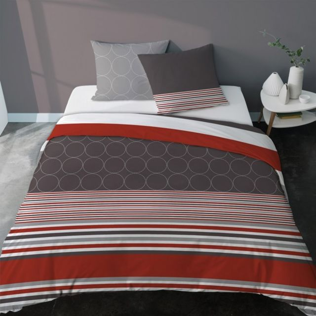 selene et gaia parure housse de couette gris anthracite rouge ambiance contemporaine citym. Black Bedroom Furniture Sets. Home Design Ideas