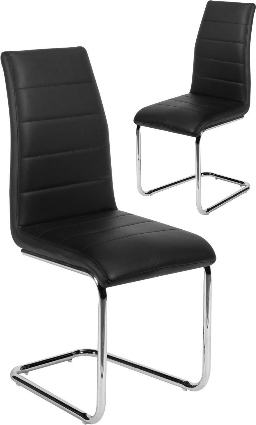 Lot de 2 chaises moderne en simili cuir et pieds chromés coloris noir
