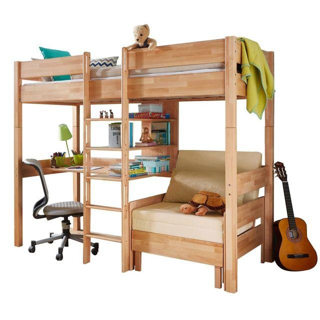 86c811733e9156 COMFORIUM - Lit mezzanine combiné 90X200 cm avec bureau, fauteuil et 3  étagères en hêtre