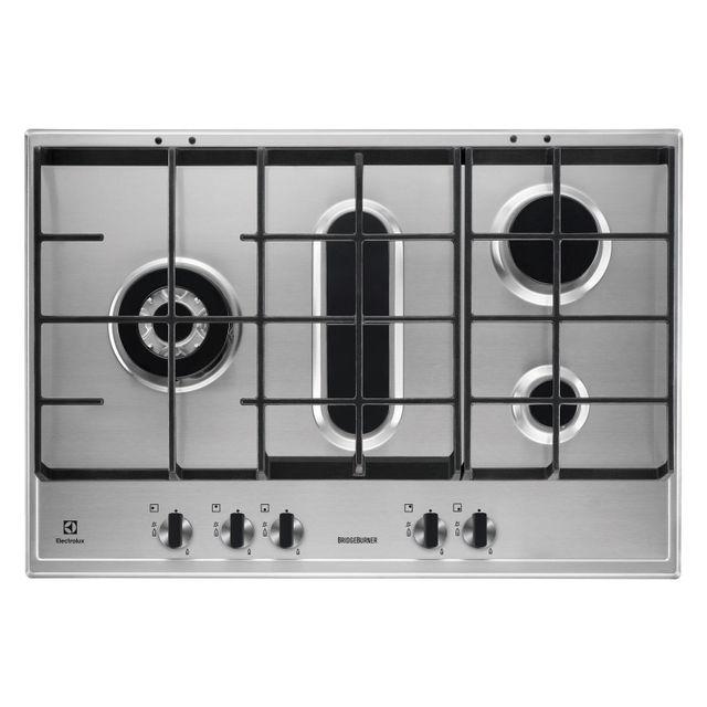 electrolux table de cuisson gaz 75cm 5 feux inox. Black Bedroom Furniture Sets. Home Design Ideas