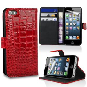 Lapinette - Etui Portefeuille Crocodile Pour Apple Iphone 5 - 5s + Film - Rouge