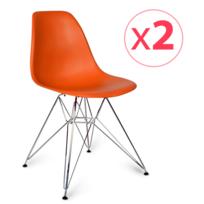Novara Mobili - Pack 2 chaises Chromé Style Orange avec pieds en métal chromé