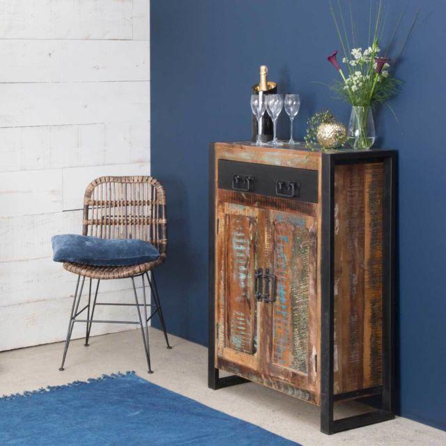 Made In Meubles Buffet industriel 2 portes bois coloré, 1 tiroir métal | réf. Mox31