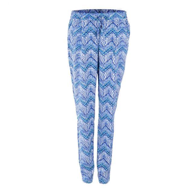 Best Mountain Pantalon Fluide Imprime Bleu Femme Pas Cher Achat