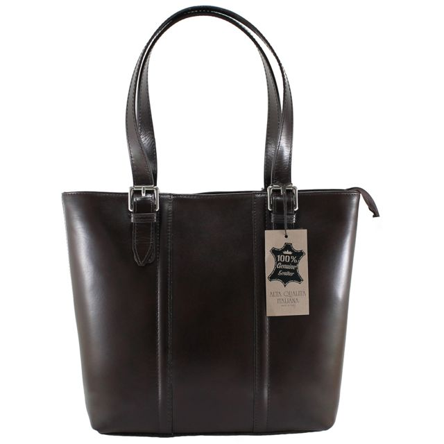 a31cd1936b4f4 Chicca Borse - Sac Shopper élégant cuir brun - pas cher Achat ...