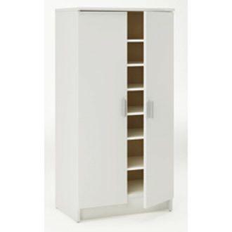 Marque Generique - Meuble à chaussures 21 paires 2 portes en bois L54.60xP35.30xH108.40 cm Camden - Blanc perle