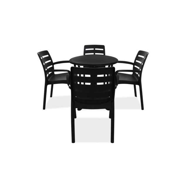 Table de jardin ronde et 4 fauteuils plastique - Gris
