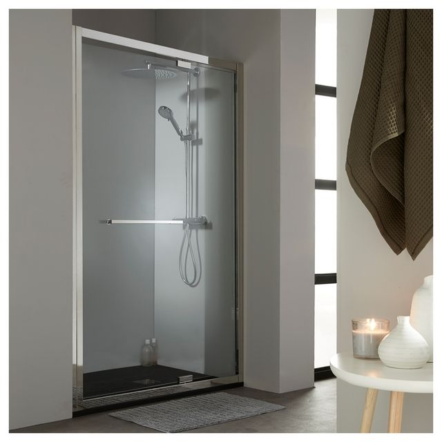 planetebain porte de douche pivotante 120 cm tout inox chrom pas cher achat vente cabine. Black Bedroom Furniture Sets. Home Design Ideas