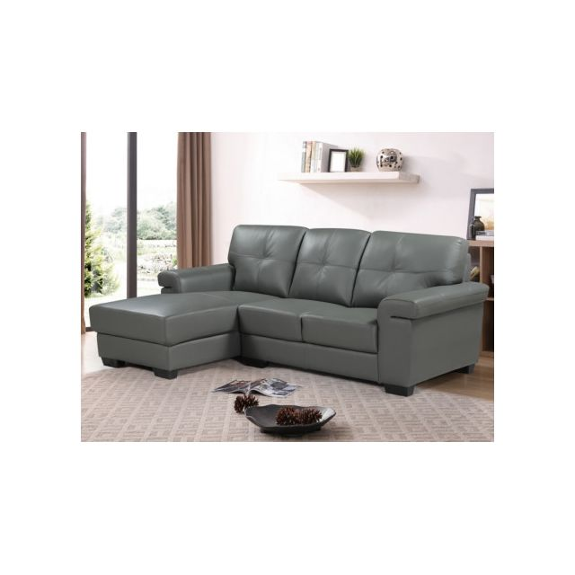 Canapé d'angle en cuir HAZEL - Gris- Angle gauche
